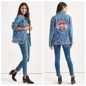 Lucky Brand denim jacket with large patch